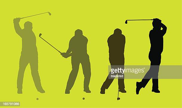 perfect golf swing - golf swing stock illustrations, clip art, cartoons, & icons