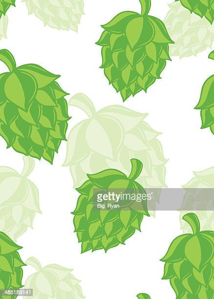 perfect hops pattern - artisanal food and drink stock illustrations, clip art, cartoons, & icons