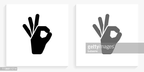 perfect sign black and white square icon - ok sign stock illustrations, clip art, cartoons, & icons