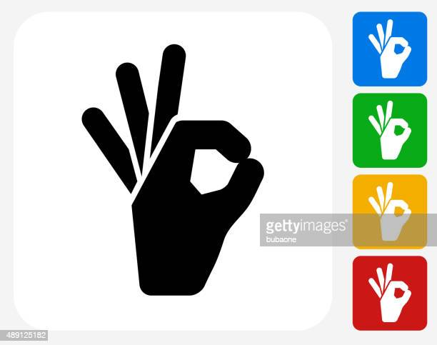 perfect sign icon flat graphic design - ok sign stock illustrations