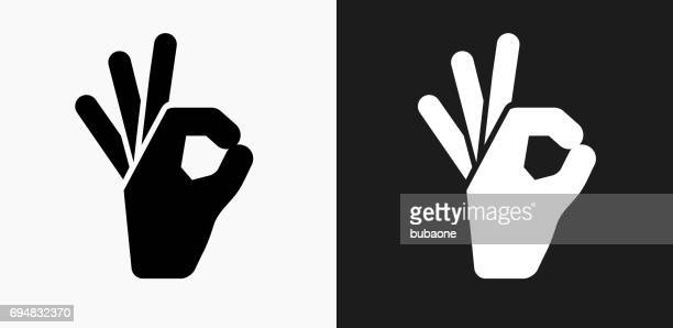 perfect sign icon on black and white vector backgrounds - ok sign stock illustrations, clip art, cartoons, & icons