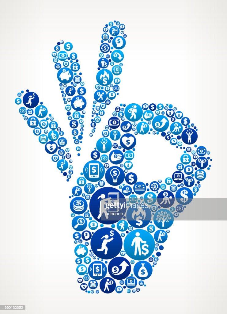 Perfekte Zeichen Geld blaues Symbol Muster Hintergrund : Stock-Illustration