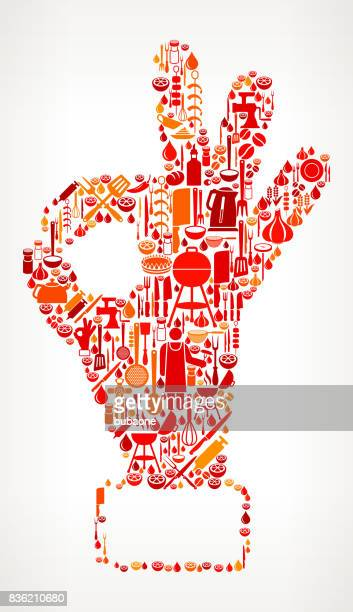 Perfection Hand  Cooking and Food Vector Icon Pattern