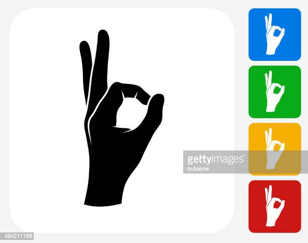 perfection hand icon flat graphic design - ok sign stock illustrations, clip art, cartoons, & icons