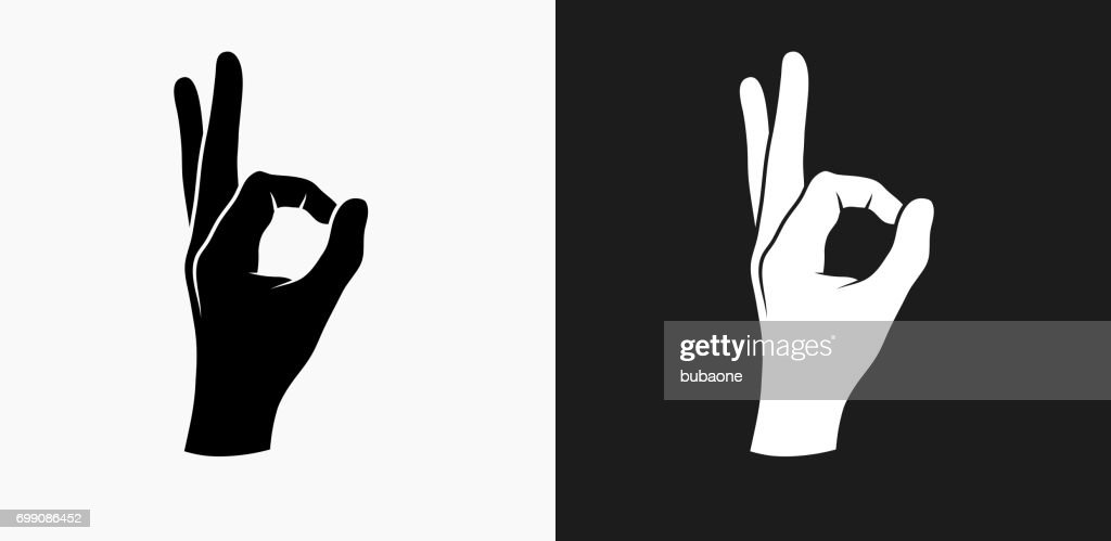 Perfection Hand Icon on Black and White Vector Backgrounds