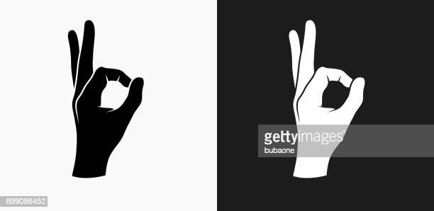perfection hand icon on black and white vector backgrounds - ok sign stock illustrations