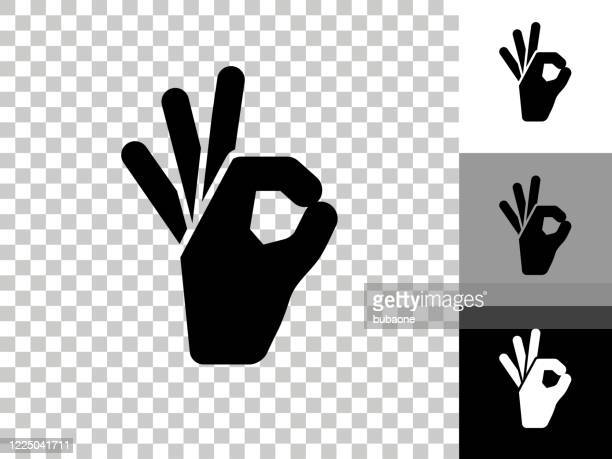 perfection hand icon on checkerboard transparent background - ok stock illustrations