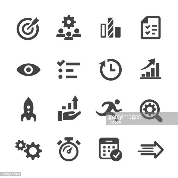 performance and management icons - acme series - urgency stock illustrations