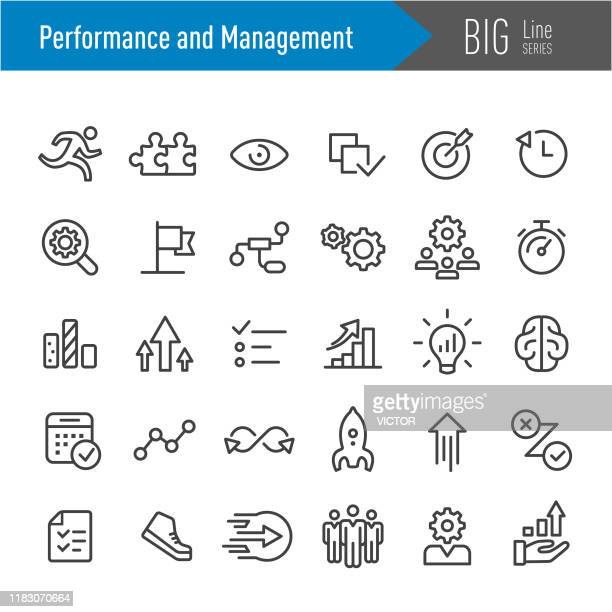 performance and management icons - big line series - dedication stock illustrations
