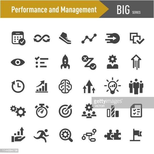 performance and management icons-big series - hingabe stock-grafiken, -clipart, -cartoons und -symbole