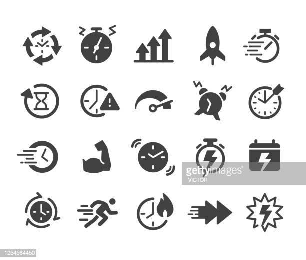 ilustrações de stock, clip art, desenhos animados e ícones de performance and time icons - classic series - ver a hora