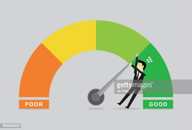 performance chart & businessman - meter instrument of measurement stock illustrations