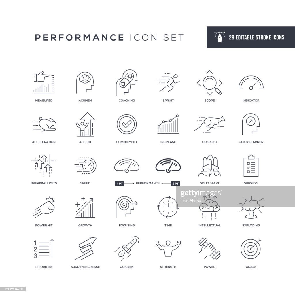 Performance Editable Stroke Line Icons : Stock Illustration