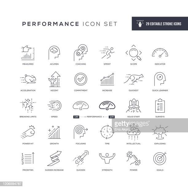 illustrazioni stock, clip art, cartoni animati e icone di tendenza di performance editable stroke line icons - competizione