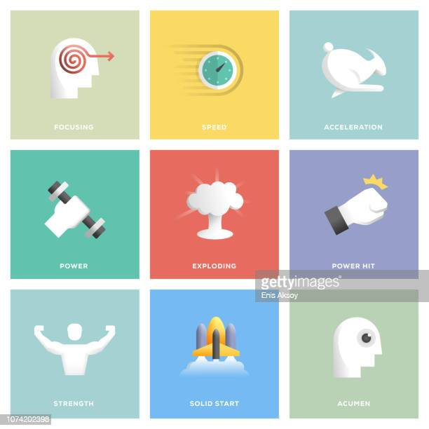 performance icon set - power outage stock illustrations, clip art, cartoons, & icons