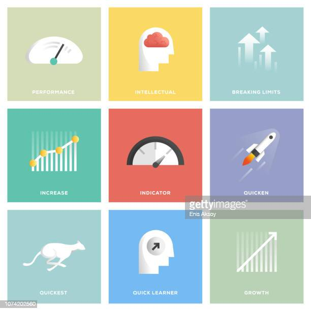 performance icon set - meter instrument of measurement stock illustrations