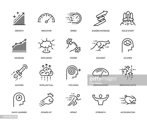 stockillustraties, clipart, cartoons en iconen met prestaties icon set - dringendheid