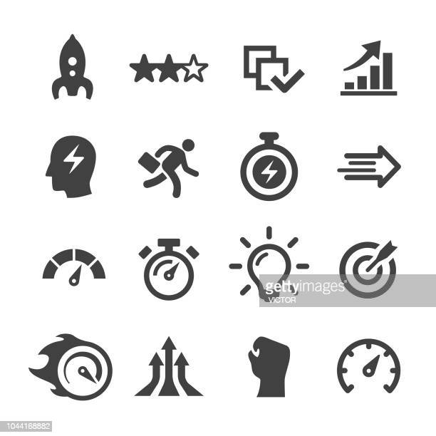 stockillustraties, clipart, cartoons en iconen met prestaties icons - acme serie - snelheid