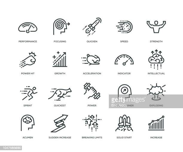 stockillustraties, clipart, cartoons en iconen met prestaties icons - line serie - snelheid