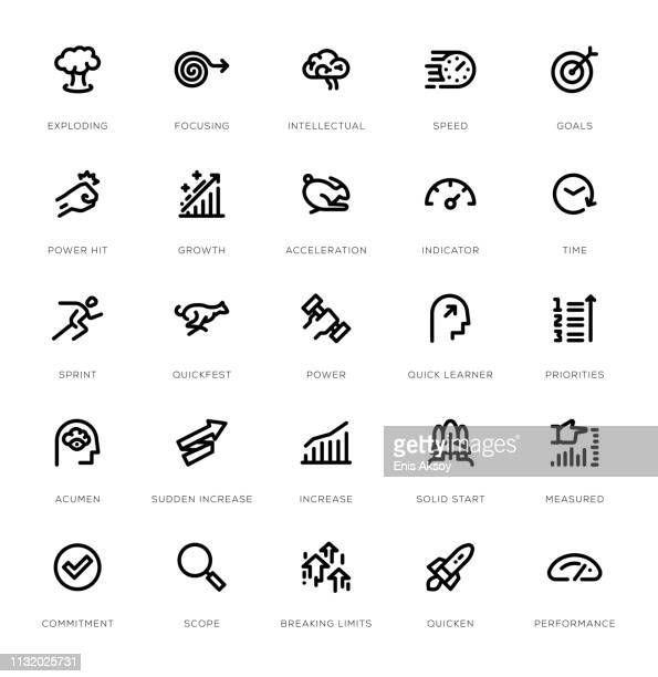 performance line icon set - power outage stock illustrations, clip art, cartoons, & icons