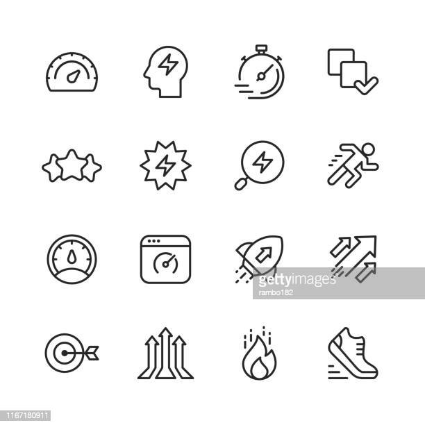 performance line icons. editable stroke. pixel perfect. for mobile and web. contains such icons as performance, growth, feedback, running, speedometer, authority, success. - try scoring stock illustrations
