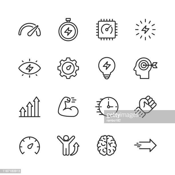 performance line icons. editable stroke. pixel perfect. for mobile and web. contains such icons as performance, growth, feedback, running, speedometer, authority, success. - improvement stock illustrations