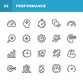 Performance Line Icons. Editable Stroke. Pixel Perfect. For Mobile and Web. Contains such icons as Performance, Growth, Feedback, Running, Speedometer, Authority, Success.