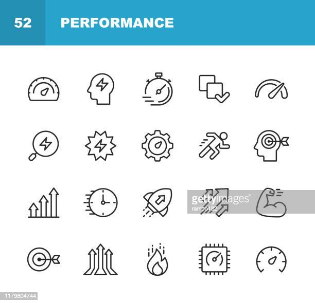 performance line icons. editable stroke. pixel perfect. for mobile and web. contains such icons as performance, growth, feedback, running, speedometer, authority, success. - learning stock illustrations