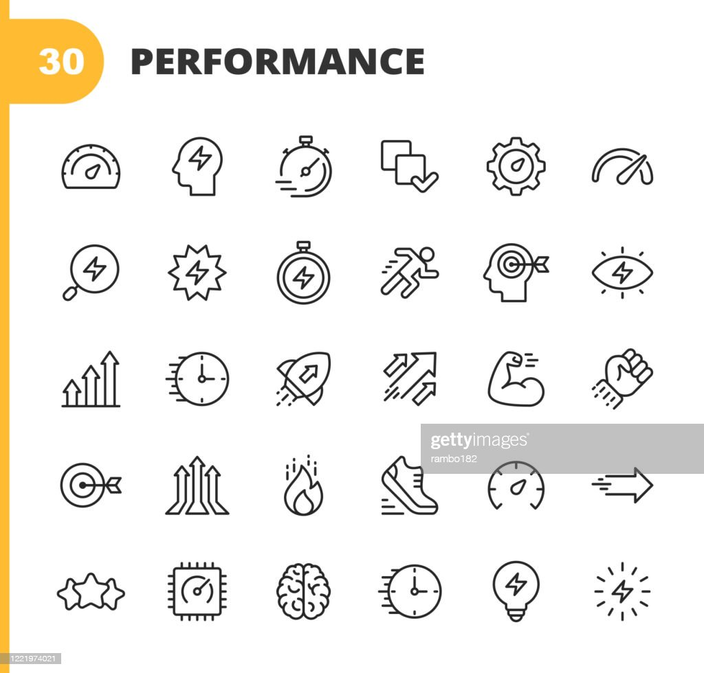 Performance Line Icons. Editable Stroke. Pixel Perfect. For Mobile and Web. Contains such icons as Performance, Growth, Feedback, Running, Speedometer, Authority, Success, Brain, Muscle, Rocket, Start Up, Improvement, Running, Target, Speed, Rating. : Illustrazione stock