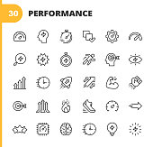 Performance Line Icons. Editable Stroke. Pixel Perfect. For Mobile and Web. Contains such icons as Performance, Growth, Feedback, Running, Speedometer, Authority, Success, Brain, Muscle, Rocket, Start Up, Improvement, Running, Target, Speed, Rating.
