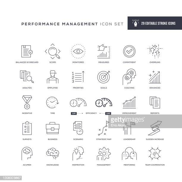 performance management editable stroke line icons - fähigkeit stock-grafiken, -clipart, -cartoons und -symbole