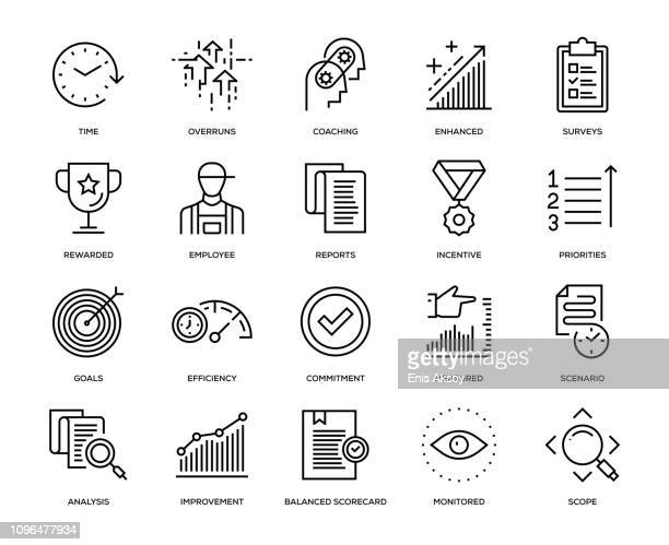 performance management icon set - showing stock illustrations