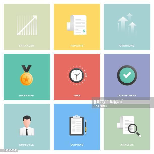 performance management icon set - hingabe stock-grafiken, -clipart, -cartoons und -symbole