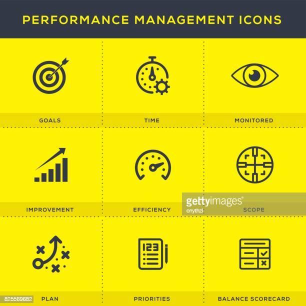 performance management icon set - performance stock illustrations, clip art, cartoons, & icons