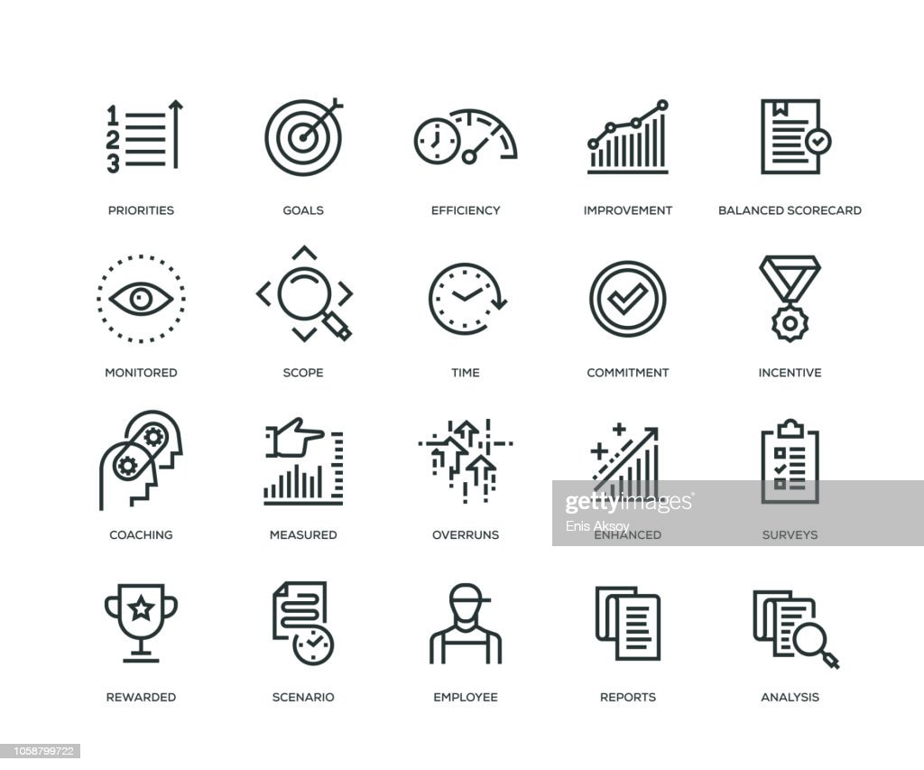 Performance Management Icons - Line Series : Stock Illustration
