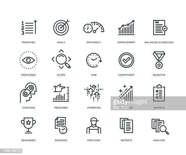 performance management icons - line series - dedication stock illustrations