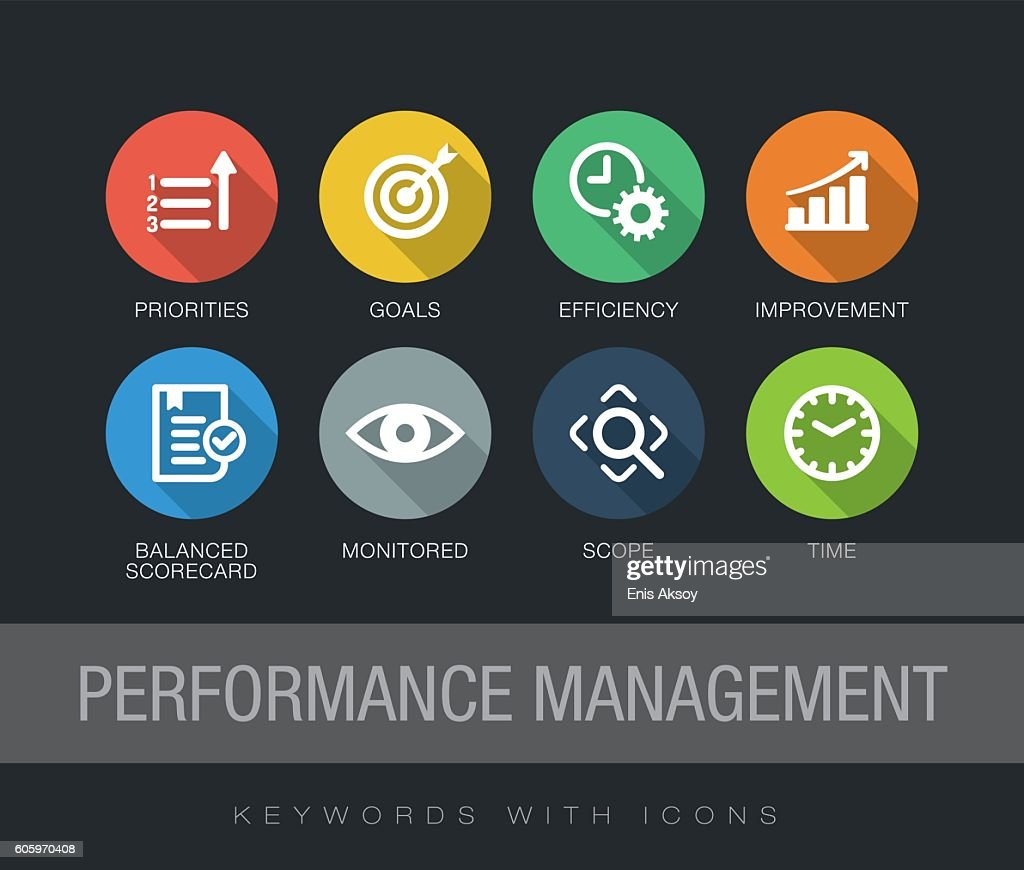performance management keywords with icons vector art