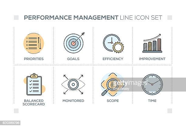 Performance Management keywords with line icons