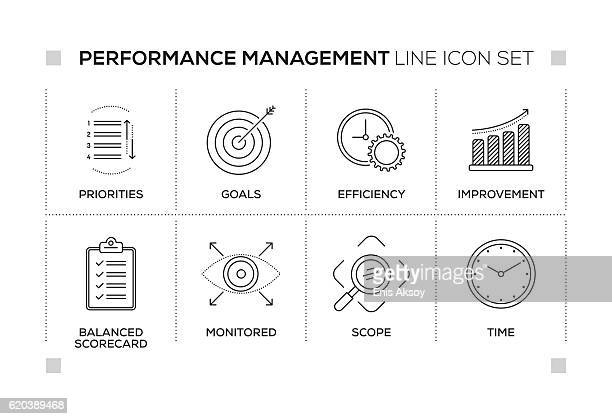 performance management keywords with monochrome line icons - measure stock illustrations, clip art, cartoons, & icons
