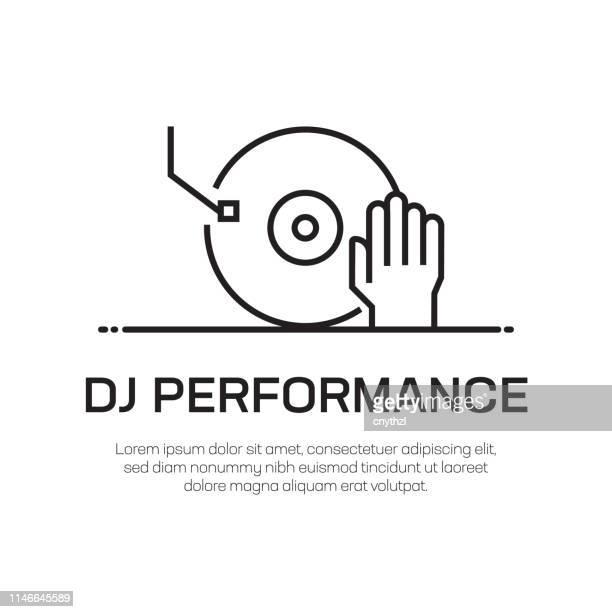 dj performance vector line icon - simple thin line icon, premium quality design element - mixing stock illustrations