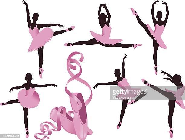 ilustraciones, imágenes clip art, dibujos animados e iconos de stock de realiza ballerinas y el ballet zapatos - zapatilla de ballet