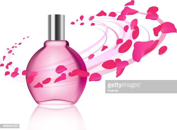 Perfume and rose petals