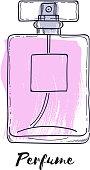 Perfume bottle hand drawn painted vector illustration. Eau de parfum
