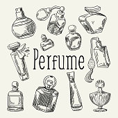 Perfume Bottles Hand Drawn Doodle. French Aroma. Woman Beauty Shop Sketch