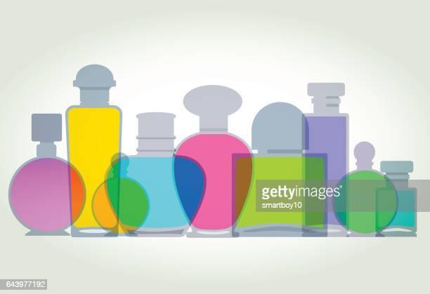 ilustraciones, imágenes clip art, dibujos animados e iconos de stock de frascos de perfume - olores agradables