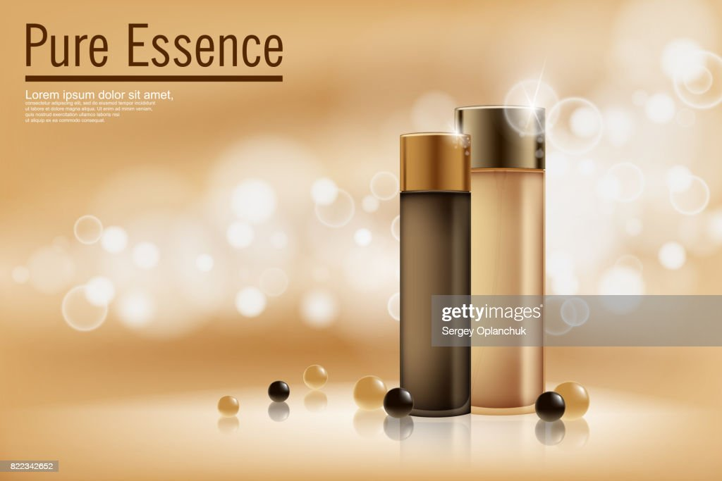 Perfume contained on bronze background with soft bokeh. Poster for the promotion of moisturizing and nourishing cosmetic premium product. Vector illustration