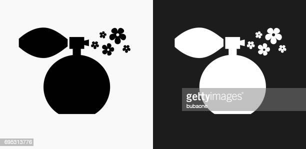 Perfume Icon on Black and White Vector Backgrounds