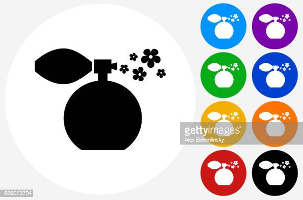 Perfume Icon on Flat Color Circle Buttons