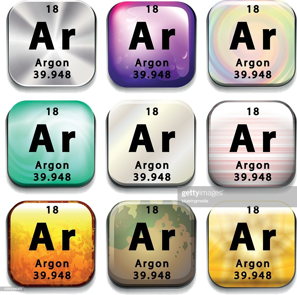 Periodic table button showing Argon