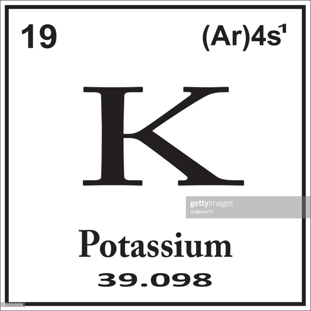 Periodic Table Element Potassium Icon On White Background Vector Art